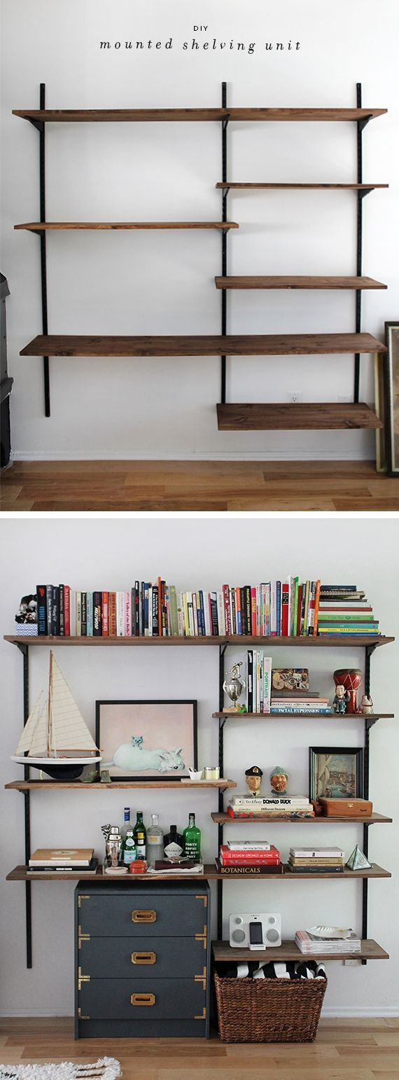 DIY wall-mounted shelving :: Uses twin tracks & sturdy brackets ...