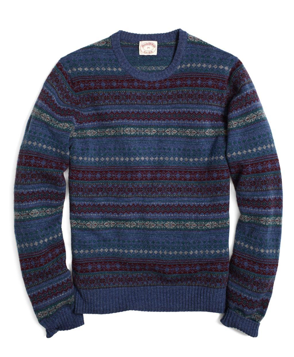 All-Over Fair Isle Crewneck Sweater - Brooks Brothers | gear ...