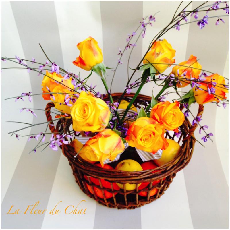 La fleur du chat: Composizione di rose e agrumi