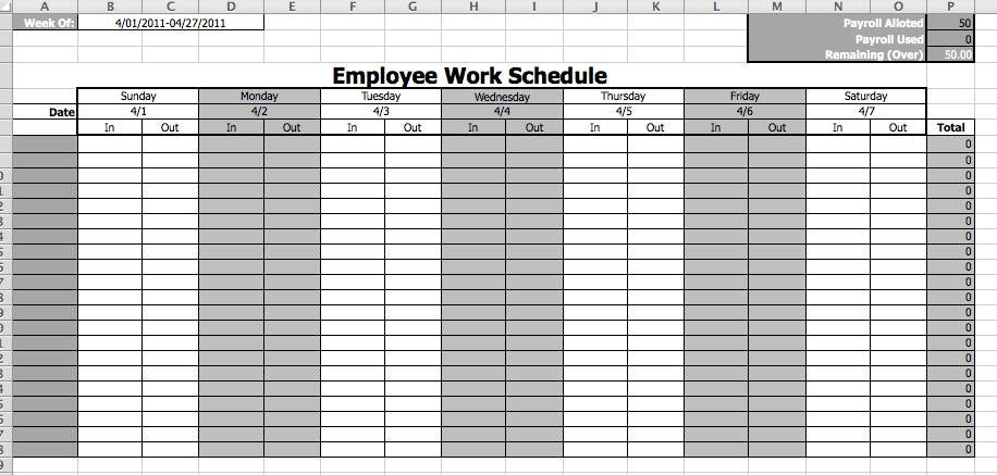Employee Work Schedule Template  Business Templates