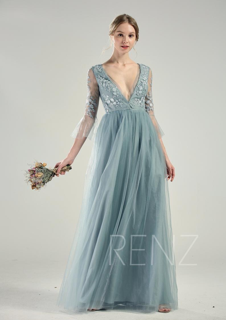 Blue Wedding Dress Long Sleeve Dusty Blue Bridesmaid Dress Etsy Blue Wedding Dresses Wedding Dress Long Sleeve Dusty Blue Bridesmaid Dresses [ 1123 x 794 Pixel ]