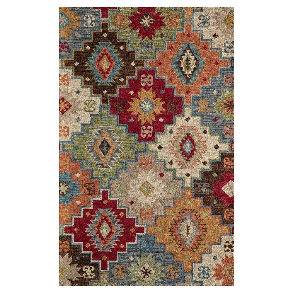 Multicolor Abstract Tufted Looped Area Rug