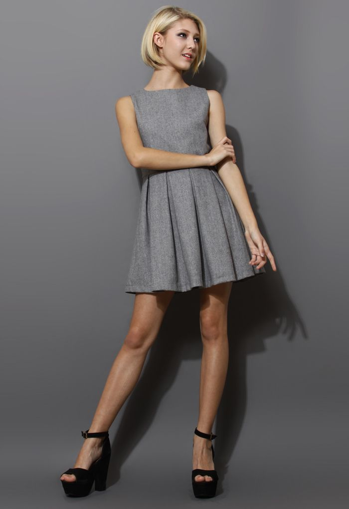 Grey Pleated Sleeveless Dress - New Arrivals - Retro, Indie and ...