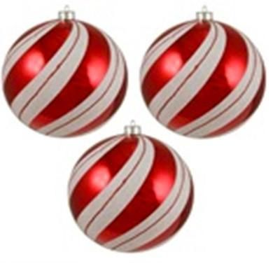 3ct Peppermint Twist Shatterproof White Red Swirled Christmas Ornaments 4 75 120mm Christmas Ornaments Christmas Ornament Sets Ornament Set