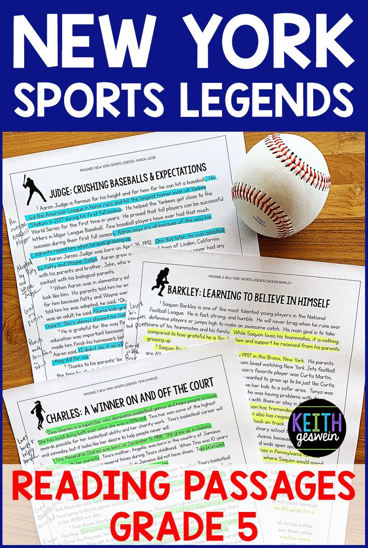 New York Sports Legends Paired Passages Grade 5 Distance Learning Paired Passages Nonfiction Reading Passages Reading Passages [ 1111 x 746 Pixel ]
