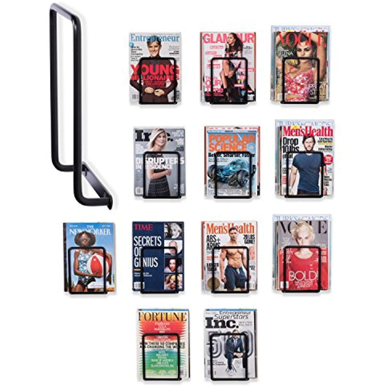 Wallniture Vango Set Of 12 Heavy Duty Wrought Iron Rectangular Wall Mounted Brackets Magazine Holder Racks Black Visit The Image Link More Details