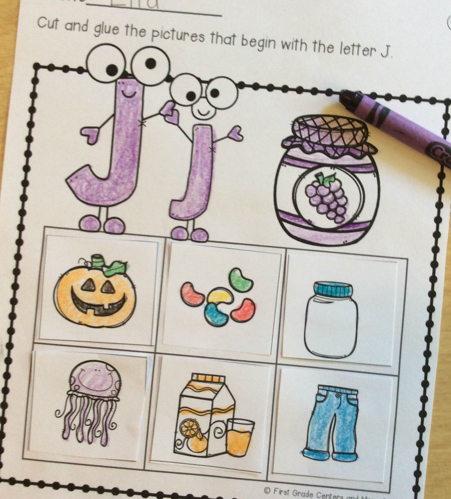Beginning Sound Cut And Paste Worksheet For Kindergarten