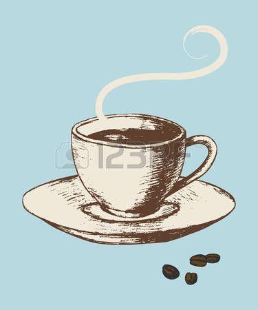 Cafe dibujo ilustraci n esquema de una taza de caf en for Tazas de te estilo vintage