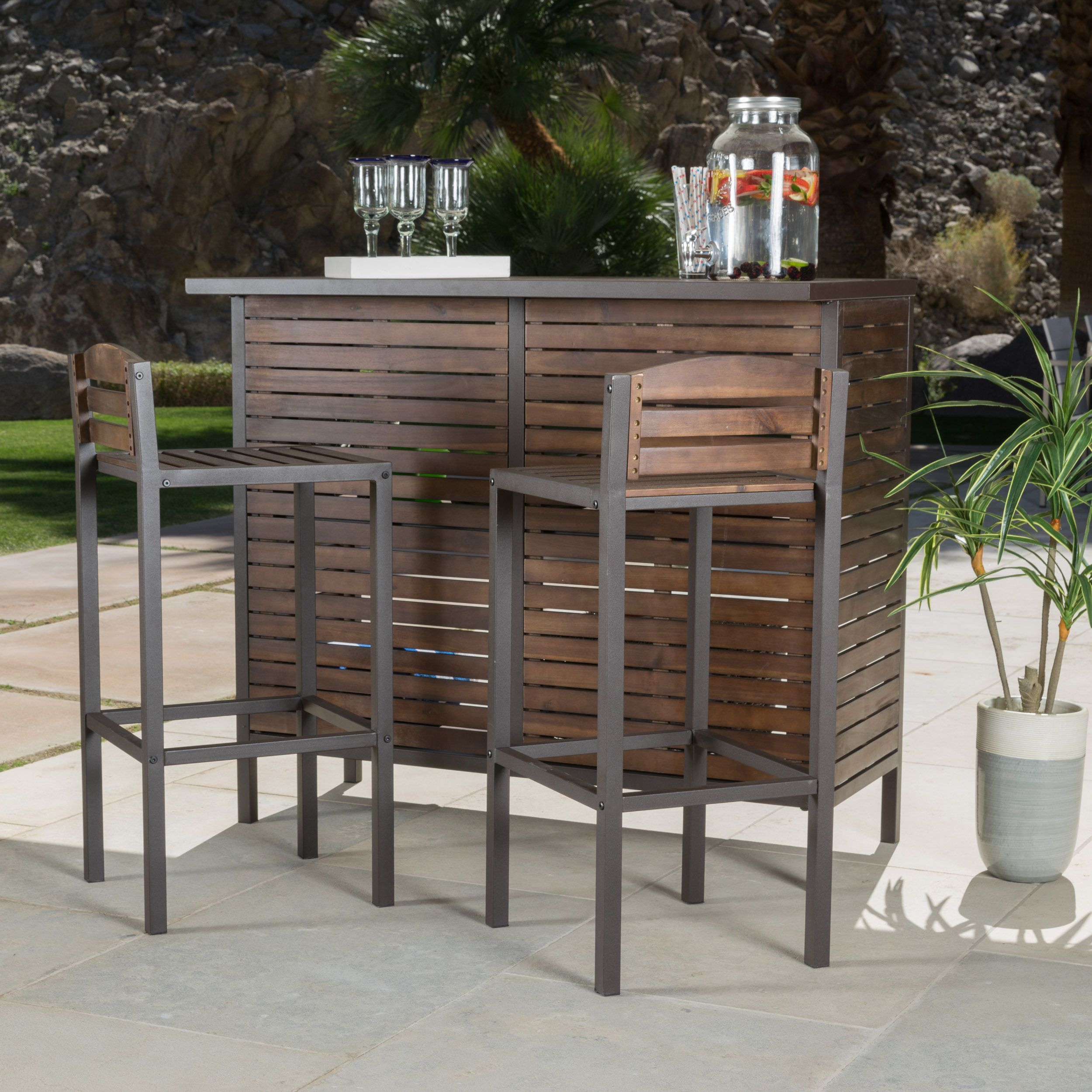 Milos outdoor 3 piece acacia wood bistro bar set by christopher knight home brown size 3 piece sets patio furniture