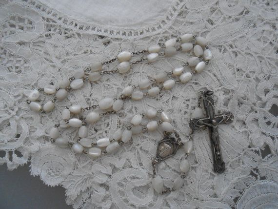 Old rosary Mother of pearl 1930's by Nkempantiques on Etsy, €15.75