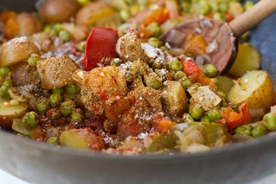 nomnomnom. Spicy Curry Butternut Squash Hummus and Aloo Matar