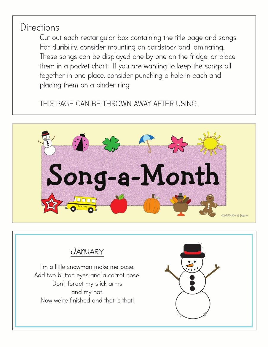 Song a Month...Awesome for Circle Time