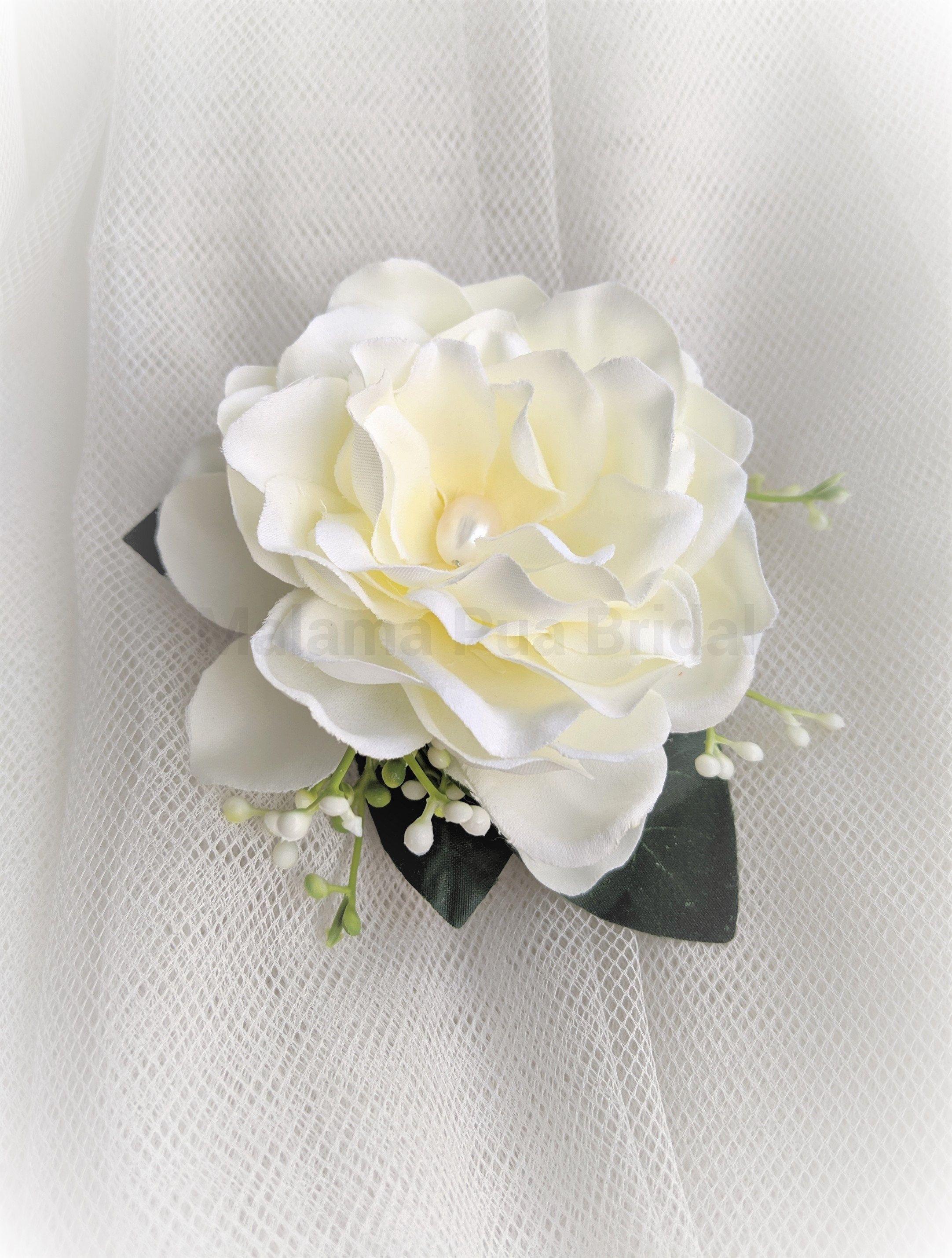 Gardenia Wedding Headpiece Hair Accessory Tropical Silk Flower Clip Bridal Hair Clip Beach Weddin In 2020 Bridal Hair Clip Flower Hair Accessories Flowers In Hair