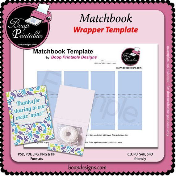 Medium sized matchbook box template diy, printable, gift bag.