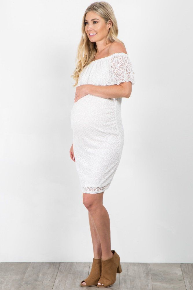 White Lace Off Shoulder Fitted Maternity Dress Lets Shop