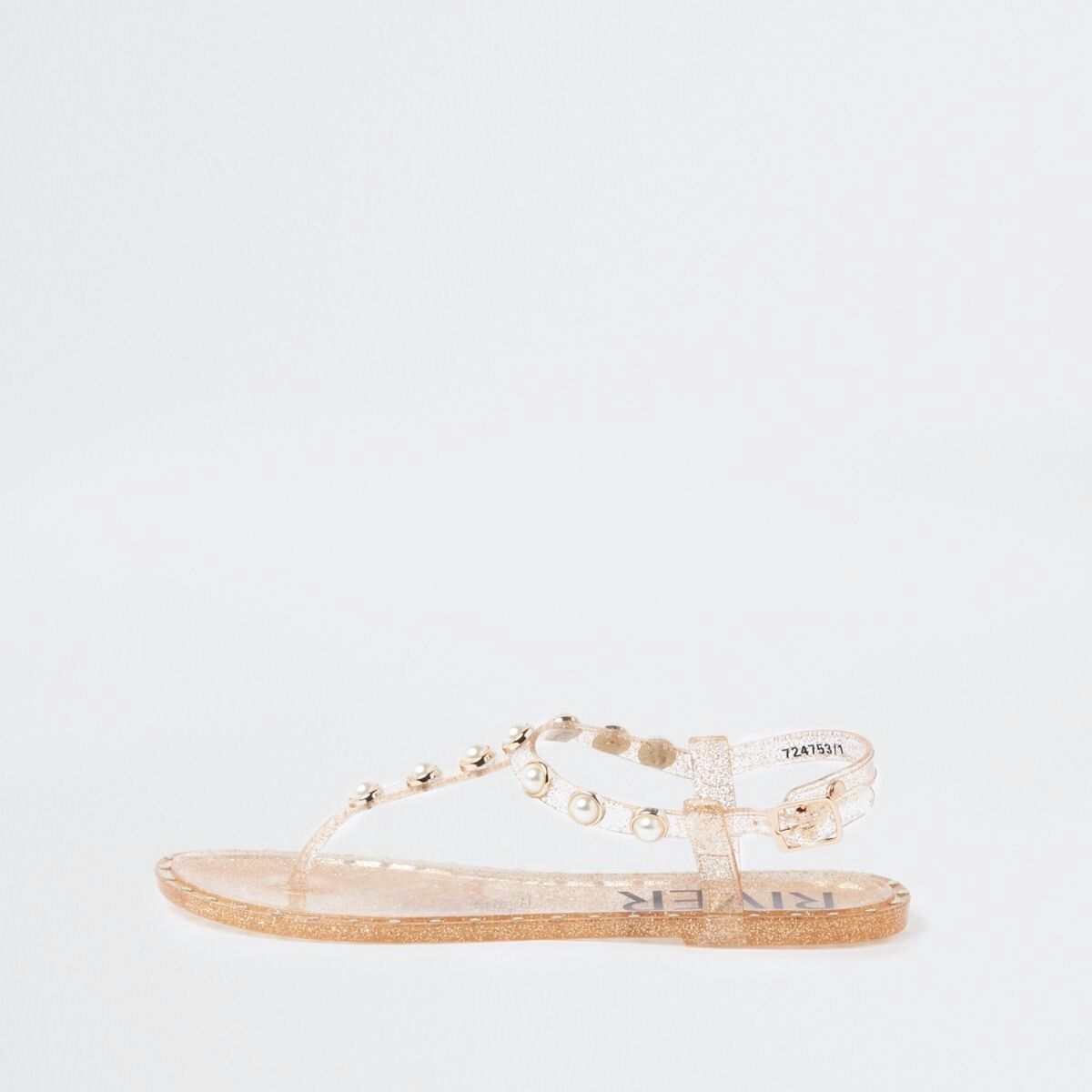 5c4aae7e1 Gold pearl embellished jelly sandals