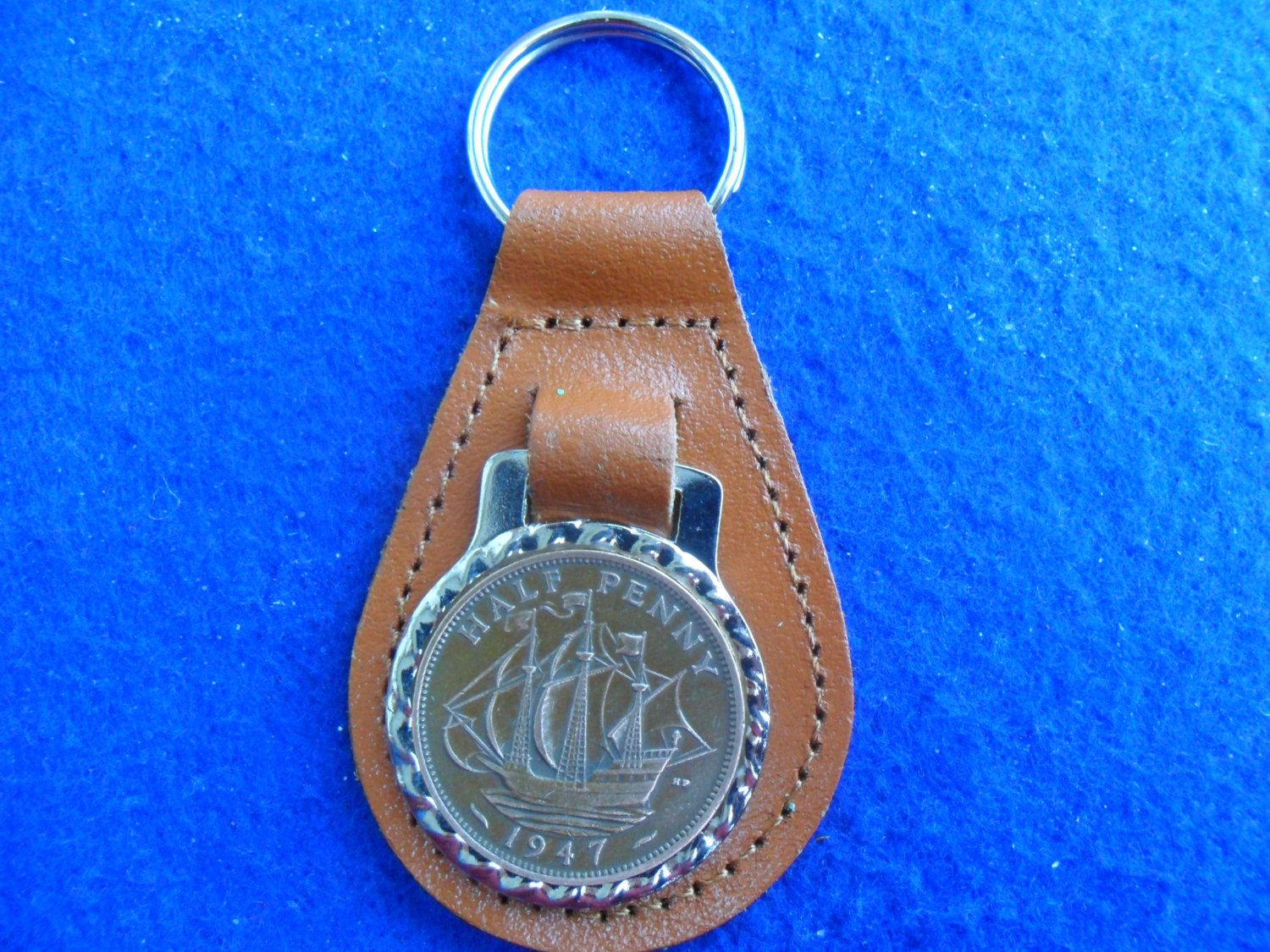 70th Birthday Present 1948 Lucky Halfpenny British Coin Leather Keyring Unusual Gift For A Woman Man By Staffscoins On