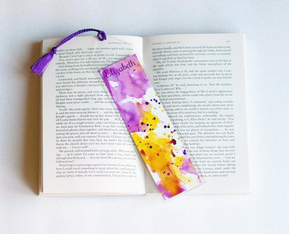 Personalized Bookmark Favors Cute Bookmarks Unique Paper For Books Custom Art Watercolor