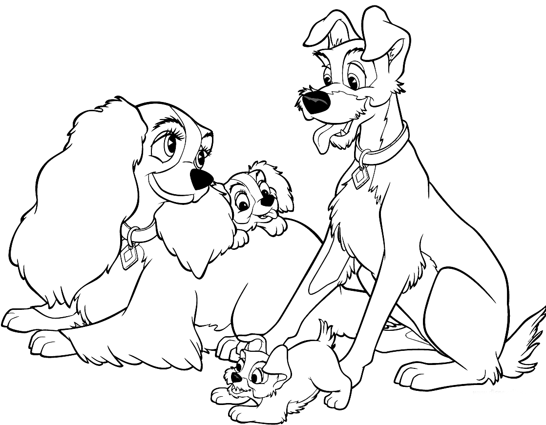 lady and the tramp gather coloring pages for kids printable lady and the tramp coloring pages for kids - Lady And The Tramp Coloring Book