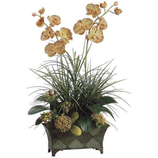Orchid And Grass Faux Flower Arrangement White Flower Arrangements Flower Arrangements Faux Flower Arrangements