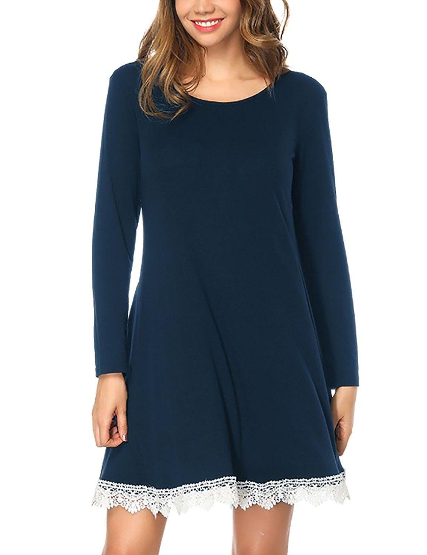 Womens Long Sleeve Pockets Lace T Shirt Dress Knee Length Navy