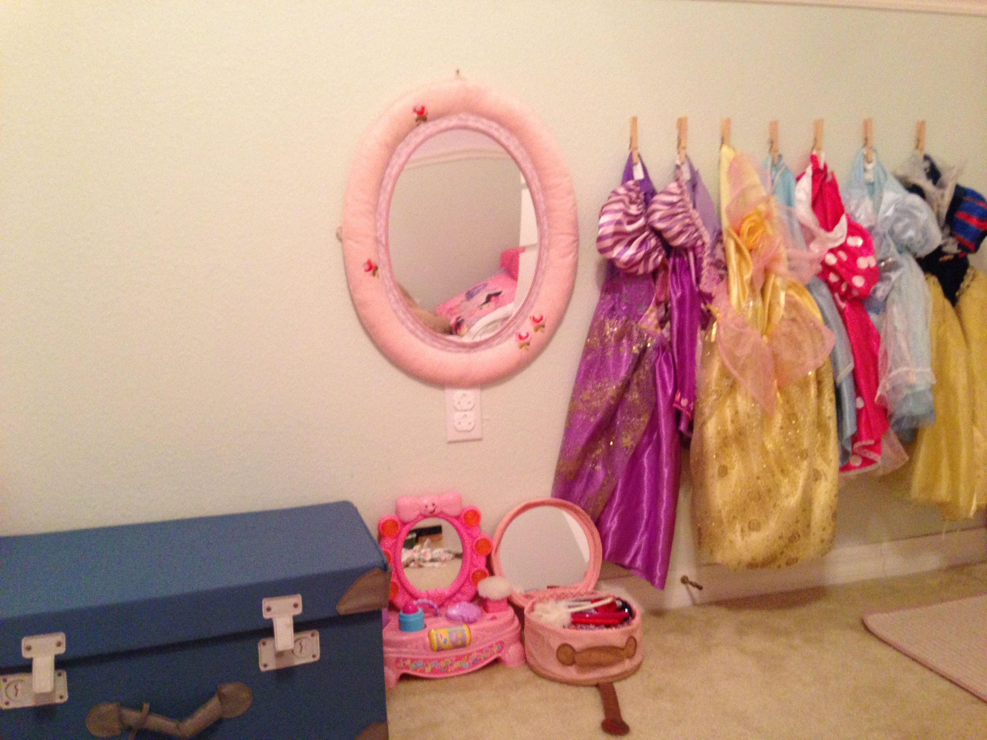 Dress Up Organization. Dresses Clothes Pinned Up On The Wall. Accessories  In Ikea Storage