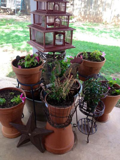 Stunning collection of planters with a bird cage at back.  see more planter ideas from my Facebook page fans. http://thegardeningcook.com/fans-of-the-gardening-cook-share-their-favorite-planters/