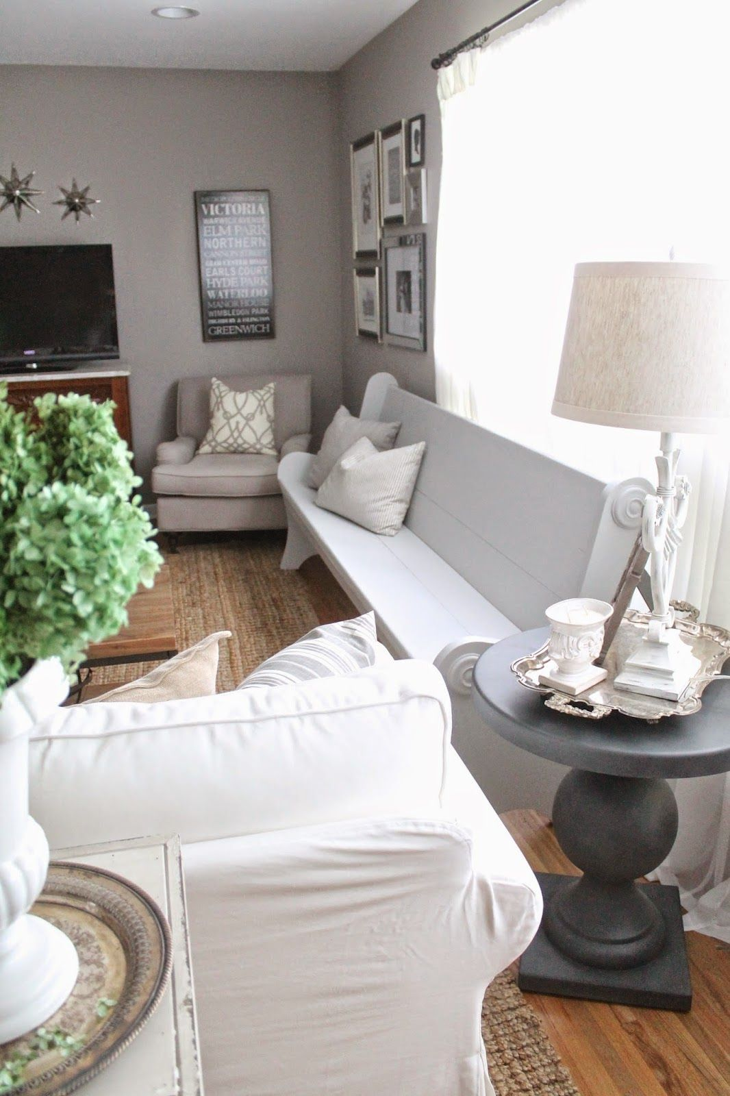 Painted Church Pew | Pinterest | White paints, Churches and Living rooms