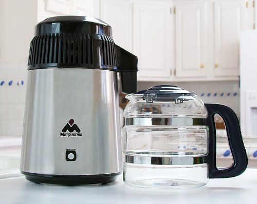 Megahome Countertop Water Distiller Stainless Steel Glass Bottle
