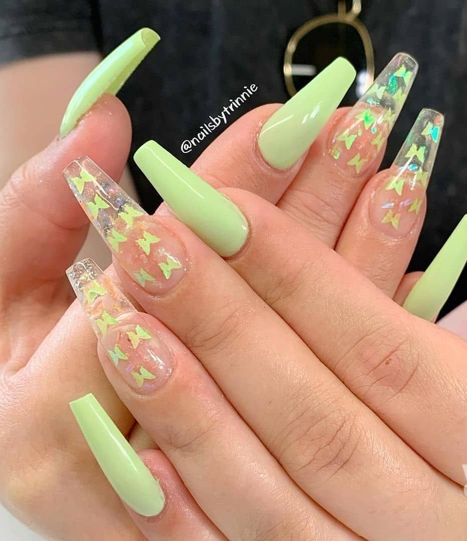 Nil Art Design In 2020 Butterfly Nail Art Simple Acrylic Nails Cute Acrylic Nail Designs