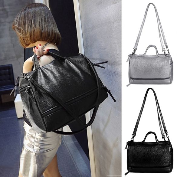 Women Fashion Retro Large Capcity Solid Handbag Tote Shoulder Bags