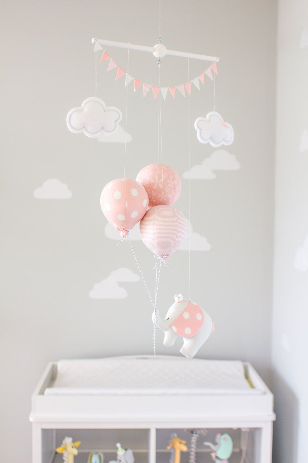 PInk Elephant Baby Mobile, Girls Nursery Decor, Pink and Grey ...