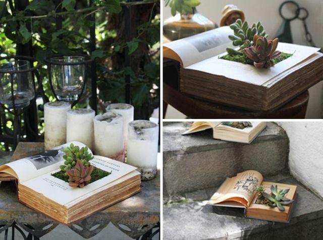 Bücher Bepflanzen Coole Ideen Deko Haus Garten Platzsparend ... Alte Schuhe Bepflanzen Originelle Pflanzgefase Garten