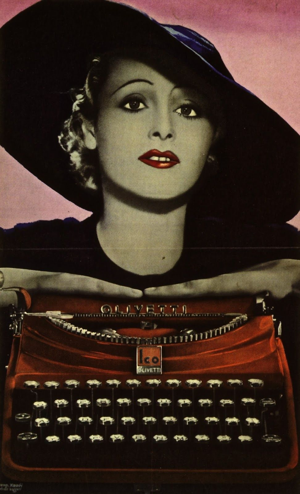 Poster designed in 1935 by Xanti Schawinsky for MP1, the first Olivetti portable typewriter
