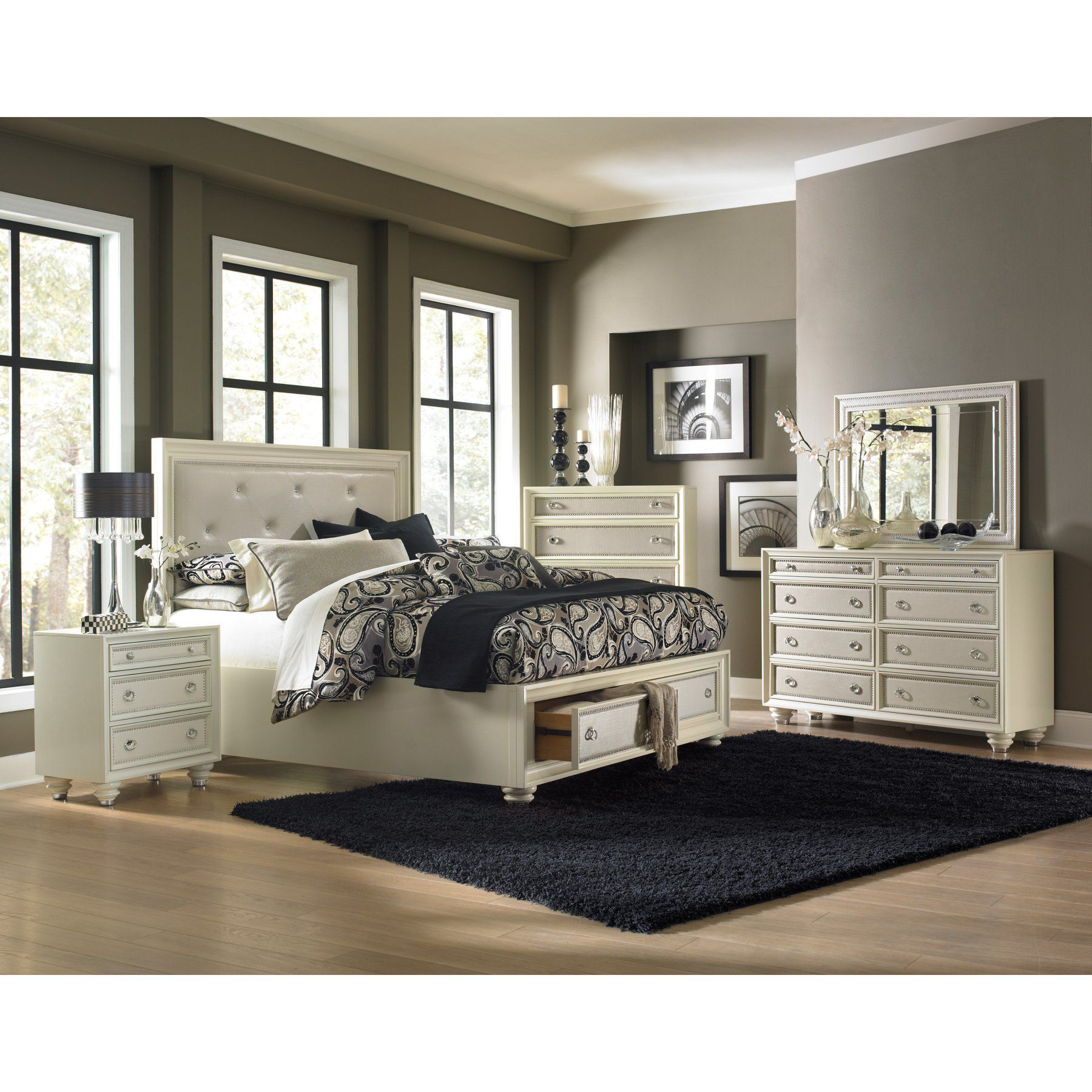 Magnussen diamond wood island storage bed mhf products