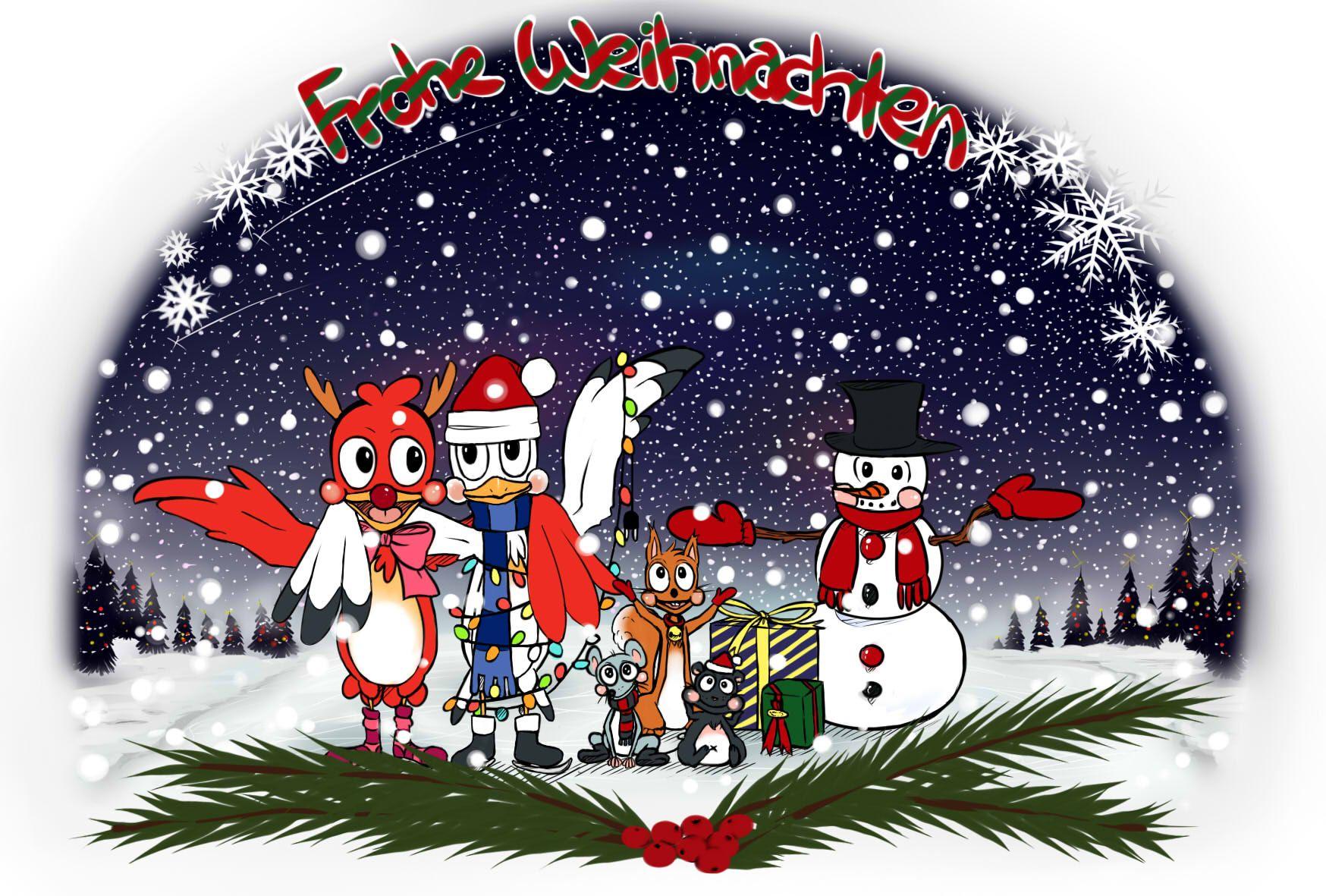 Digitale Weihnachtskarten.Weihnachtskarte Nr 2 Im Comicstyle Drawing Zeichnung