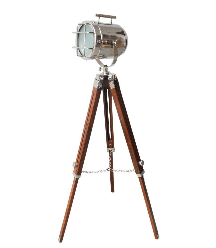Led studio searchlight tripod floor lamp nautical tripod wooden home marine studio spot searchlight vintage floor lamp nautical home decor chrome in collectibles lamps lighting lamps electric ebay aloadofball Gallery