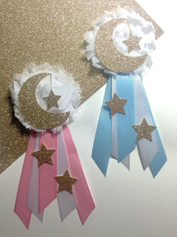 Double Sided Silver Crescent Moon and Gold Star Twinkle Twinkle Little Star Party Decoration DIY Shaped Baby Shower or Birthday Party