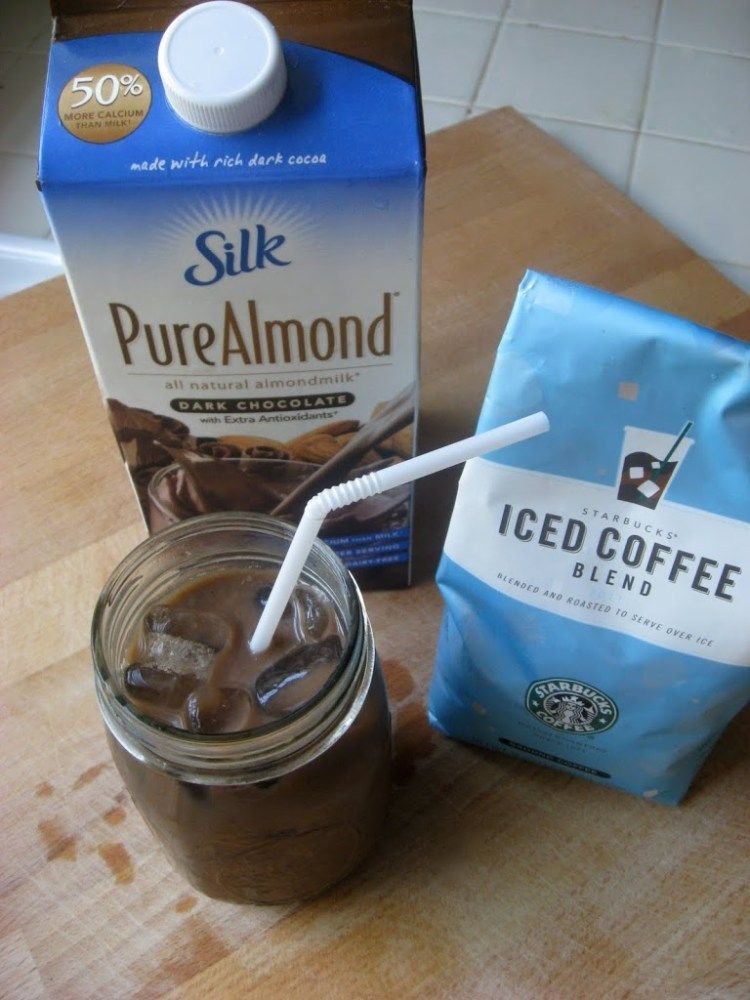 Easy 3 ingredient chocolate almond iced latte almond
