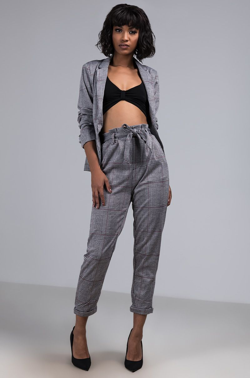 9a6a3273 The AKIRA Label You Got What I Want Houndstooth Pant is a high waist,  relaxed fit, houndstooth patterned pant complete with a pleated waistband,  ...