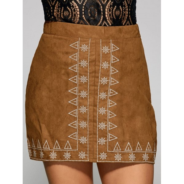 14.07$  Buy now - http://diit4.justgood.pw/go.php?t=199022508 - Sun and Small Tree Embroidery Faux Suede Skirt 14.07$