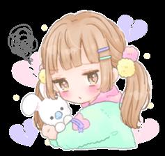 Happy Fancy Girls Manamoko Stickers Cute Anime Chibi Fancy Girl Cat Graphic Design