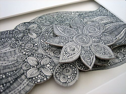 3D Zentangle - Shapes and Flowers details 2 | Coloring Pages and ...