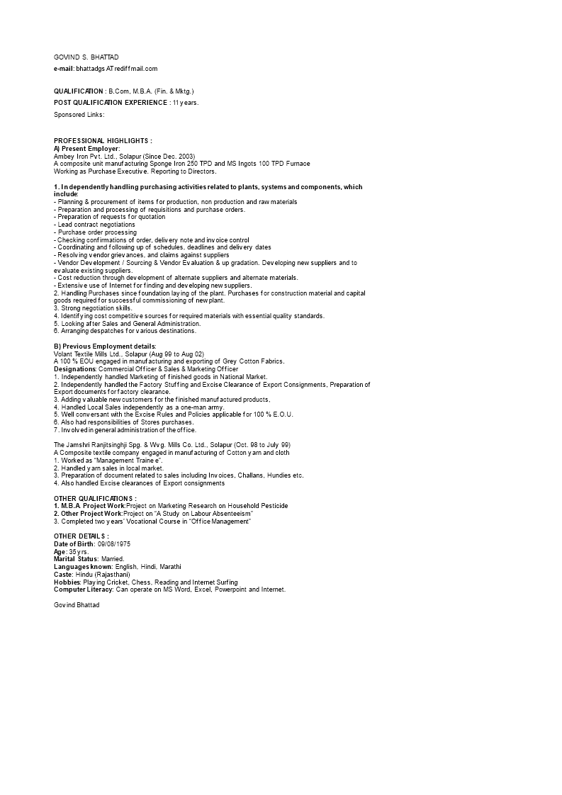 Purchase Executive Resume Sample How To Create A Purchase Executive Resume Sample Download This Purchase Execut Executive Resume Templates Business Template