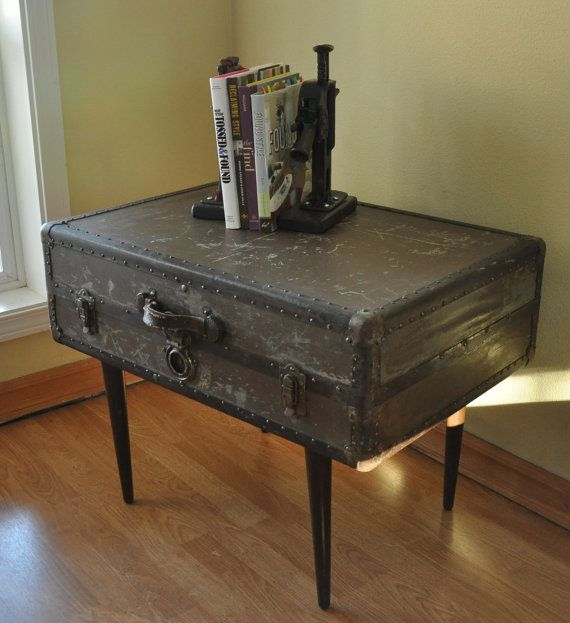 Vintage Metal Suitcase Side Table. Nightstand for Coyle and ...