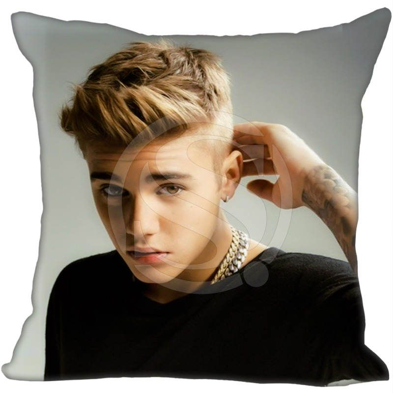 Custom Square Pillowcase Justin Bieber Soft Pillow Cover Zippered F Size 20x20cm 35x35cm One Sides Boy Hairstyles Hairstyle Hipster Hairstyles