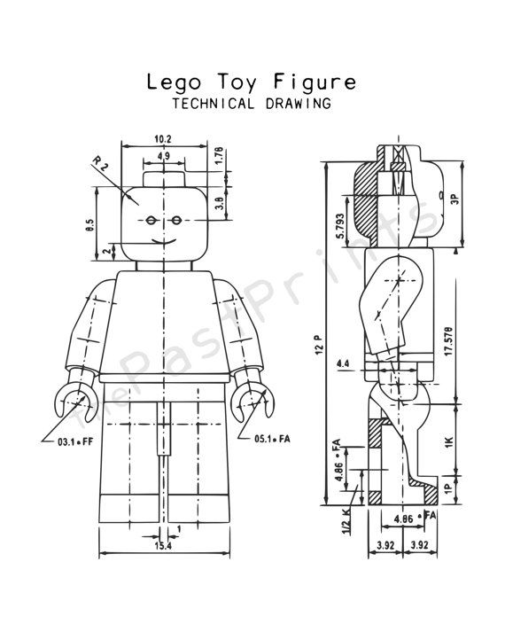 Lego figure technical drawing instant download for What size paper are blueprints printed on