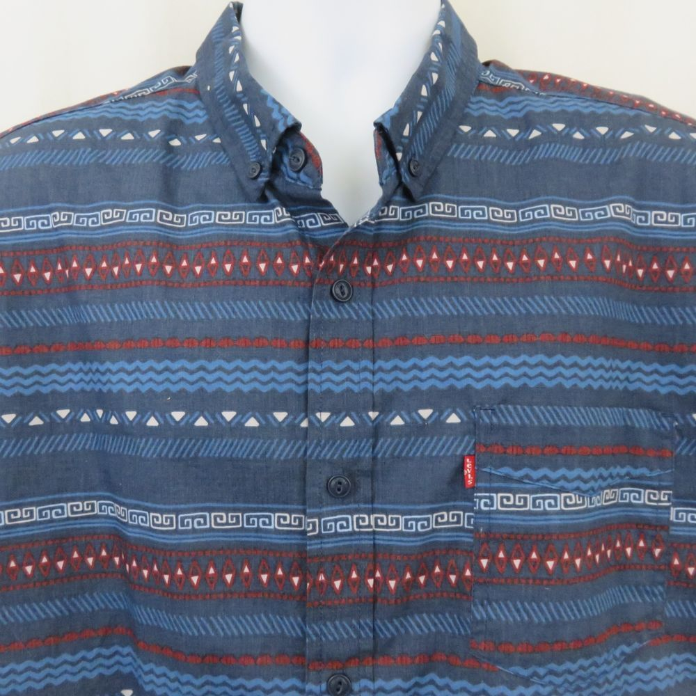 63e2c218 Levi's Red White Blue Geometric Southwestern Print Mens L Shirt Button Down  SS #Levis #ButtonFront