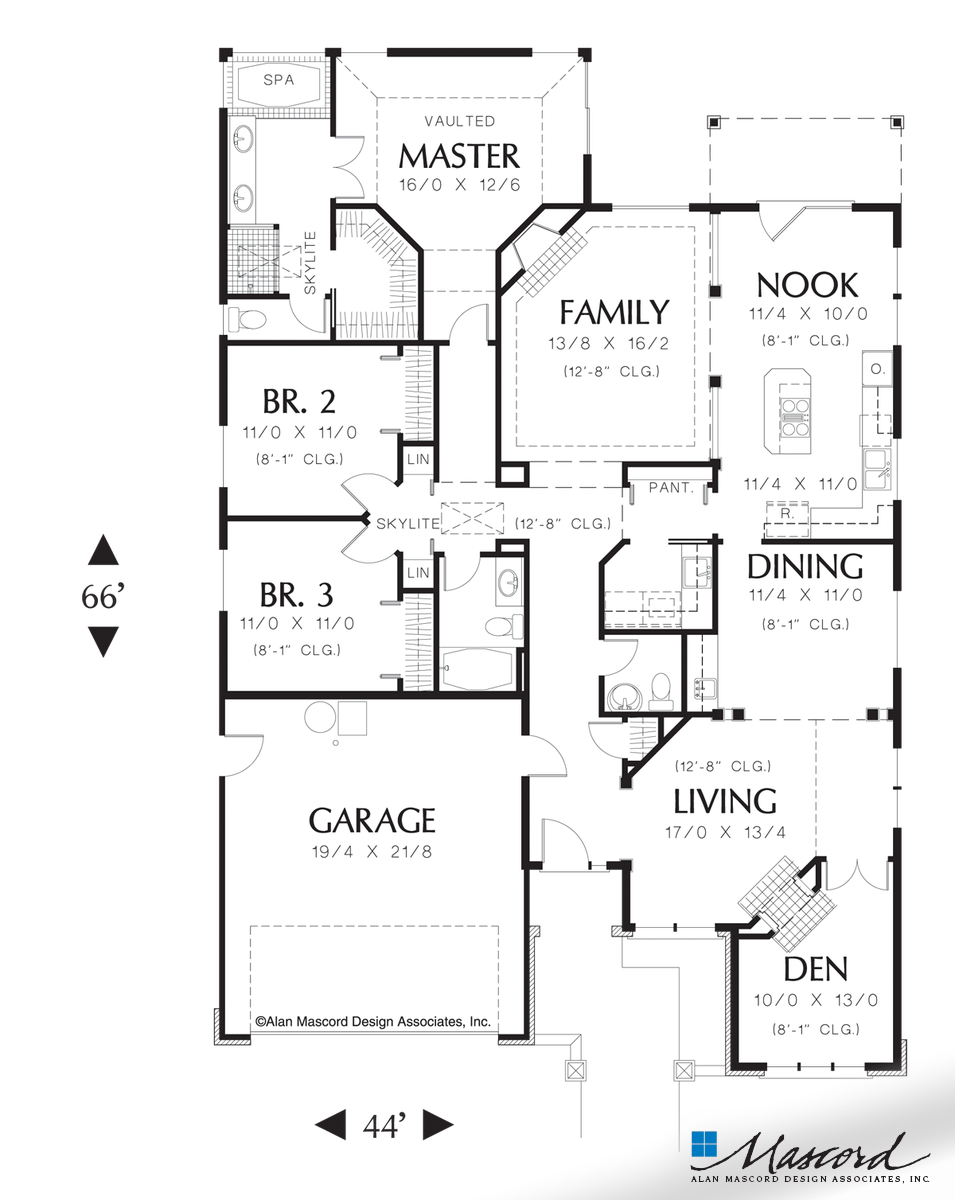 Main Floor Plan Of Mascord Plan 1212 The Sutherland Single Story Traditional Plan Great For Entertaining Narrow House Plans Ranch House Plan Floor Plans