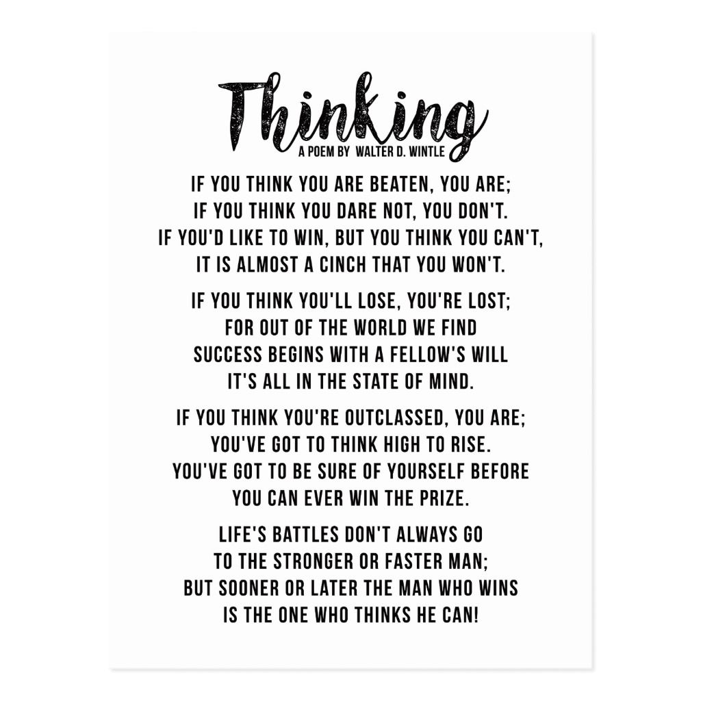 Thinking - Powerful Motivational Poem Postcard